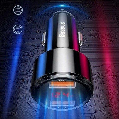 BASEUS MAGIC LED QC3.0 2-PORT USB CAR CHARGER BLACK