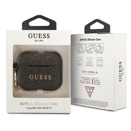 Guess GUACAPSILGLFU AirPods Pro cover czarny/black Silicone