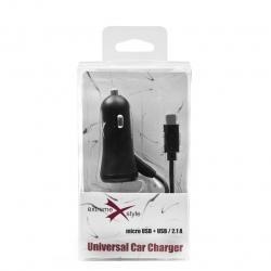 Ładowarka samochodowa  eXtreme microUSB + USB 2.1A